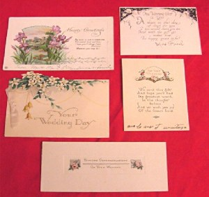 5 Antique Wedding Cards