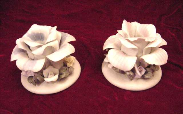 Porcelain Rose Candle Holders