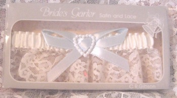 Blue and Lace Heart Garter