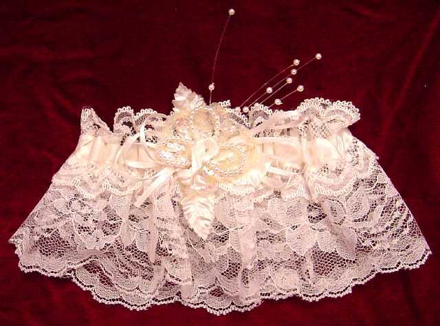 Beaded White Lacey Garter
