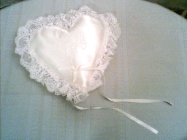 Heart Shaped Silky Lace Ring Pillow with Two Doves