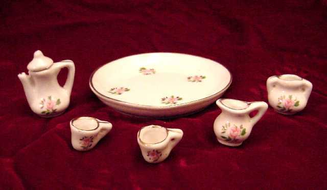 Porcelain Miniature Rosette Tea Set