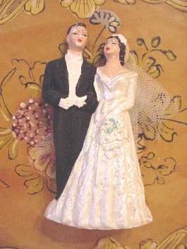 Vintage Chalk Bride Groom Wedding Cake Topper