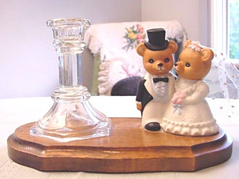 Bridal Wedding Bear Candle Cake Topper